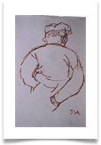 "Man in Andalucia :: Pen on Paper (Mounted) :: 18"" x 16"" :: £ 165"